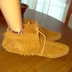 Soft Leather Moccasins Made in the Dominican Republic! Only worn once for a Peter Pan costume. No rips, tears, or stains, save the scuffs on the underneath. Non smoking home (Modeling with my hand because they no longer fit me) Shoes Moccasins