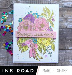 Dayse Bouquet watercoloring with Distress Oxide inks by Marcie Courage Dear Heart, Favorite Color, My Favorite Things, Gold Powder, Heart Flutter, Distress Oxide Ink, Floral Bouquets, Paint Brushes, Card Stock