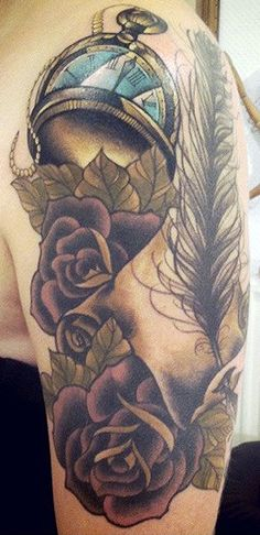 Tattoo by Sarah B Bolen. Pinned for the pocket watch and the depth of the purple roses