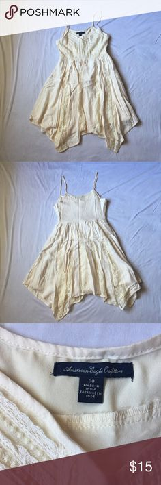 🌟Host Pick🌟Cream American Eagle Dress This is a beautiful cream American Eagle Dress in near perfect condition. Only worn twice. The only flaw is right above the hook closure there is blue discoloration from wearing a jean jacket. The spots are very tiny and aren't noticeable when worn since it is under the arm. Any questions just ask! First photo is stock photo. American Eagle Outfitters Dresses