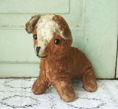 Antique Straw Stuffed Puppy Dog Toy.
