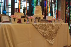Cake table decor, at Belltower Chapel & Garden  #belltower #fortworth #wedding #chapel #gardenwedding