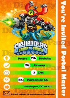 Skylanders Swap Force Birthday Party Personalized Custom Invitation -SAME DAY SERVICE-