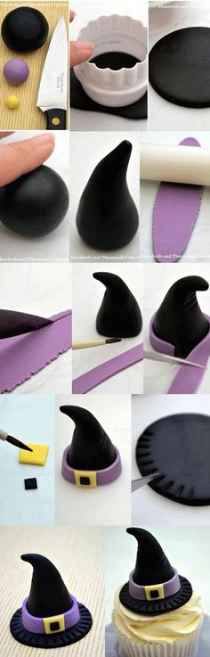 Comment faire un cupcake chapeau de sorcière /  How to make witch hat cupcake
