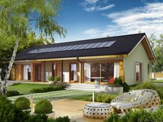 Projekt domu AC Eryk (z wiatą) CE - DOM - gotowy koszt budowy Prefabricated Houses, Prefab Homes, Style At Home, Bungalow Haus Design, Village House Design, Self Build Houses, Traditional Style Homes, Compact House, Weekend House