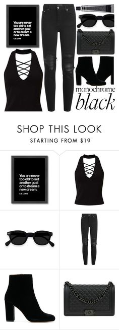 """All Black"" by madeinmalaysia ❤ liked on Polyvore featuring Americanflat, Miss Selfridge, AMIRI, Chanel and allblack"