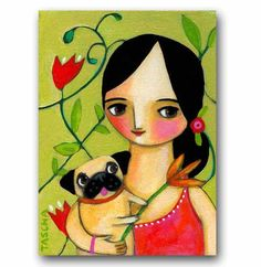 ORIGINAL pug dog painting with flowers acrylic on canvas by tascha