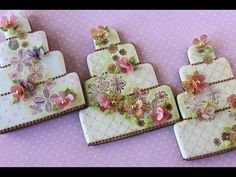 VIDEO: How to Make Multi-Media Wedding Cake Cookies (using several different cookie decorating techniques) by Julia M Usher