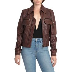 Women's Bagatelle.city The Aviator Leather Jacket (960 NZD) ❤ liked on Polyvore featuring outerwear, jackets, mahogany, 100 leather jacket, real leather jackets, leather aviator jacket, aviator jacket and genuine leather jacket