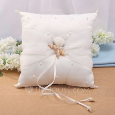 Ring Pillow - $14.19 - Starfish Design Ring Pillow in Satin With Starfish and Seashell (103037450) http://jjshouse.com/Starfish-Design-Ring-Pillow-In-Satin-With-Starfish-And-Seashell-103037450-g37450