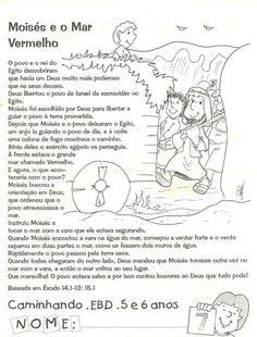 CANTINHO DAS HISTÓRIAS BÍBLICAS: LIÇÃO BÍBLICA INFANTIL MOISÉS E O MAR VERMELHO Homeschool, Education, Memes, Kids, Samara, Kids Study, Kids Bible Studies, Kids Bible Activities, Kid Activities