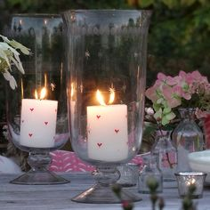 Hurricane Vases - perfect for a relaxed evening wedding reception - Glass by Susie Watson Designs