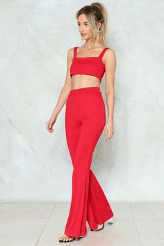 In Good Company Crop Top and Flare Pants Set