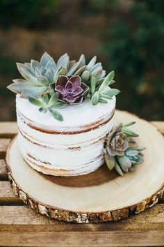Boho-chic wedding cake idea - one-tier, semi-naked wedding cake with succulent cake topper {Suzy Goodrick Photography}