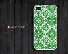 iphone 4 case iphone 4s case iphone 4 cover green style classical  illustrator flower graphic design printing. $13.99, via Etsy.