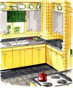 Yellow Kitchen Steel Cabinets Tiles Redo
