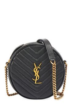 V4H2Q Saint Laurent Vinyle YSL Round Quilted Grain de Poudre Crossbody Bag