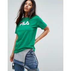 Fila Oversized Boyfriend T-Shirt With Chest Logo ($40) ❤ liked on Polyvore featuring tops, t-shirts, green, crew t shirts, green t shirt, green top, green tee and polo crew neck t shirts