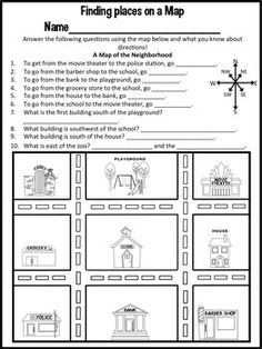 Map Skills (Reading Maps Printables & Map Making Task) | Map ...