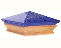 arboria.com Woodway Hybrid Glass & Cedar Post Cap - Cobalt Blue