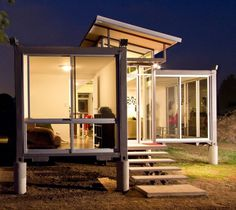 container home with large windows