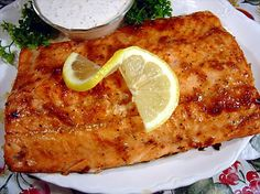 Grilled Salmon Fillets with Creamy Horseradish Sauce from Food.com:   Grilled salmon with a savory blend of horseradish and soy.
