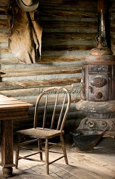 Items similar to Log Cabin Old West Chair & Potbellied Stove Rustic Home Decor Americana Pioneer Lifestyle Monochromatic Browns Fine Art Photograph on Etsy Old Cabins, Cabins And Cottages, Cabins In The Woods, Rustic Cabins, Small Log Cabin, Log Cabin Homes, Saloon Western, Westerns, Cabin Interiors