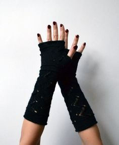 Black Lace Knit Fingerless Gloves  Lace Fingerless by lyralyra
