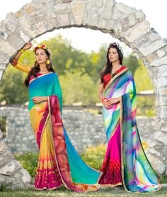 MULTI COLOR AND PINK GEORGETTE PRINTED SAREE
