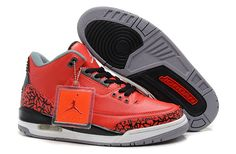 Jordan 3 red grey basketball men shoes