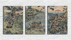 Japanese Battle Print Set/Japanese Warriors Combo Poster/Antique Samurai Triptych Wall Art/Antique/Vintage Poster/Japanese Retro Printing Triptych Wall Art, Japanese Warrior, Poster On, Asian Style, All Print, Folklore, As You Like, All Design, Vintage Posters