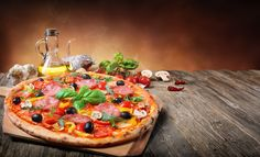 Photo about Hot Pizza Served On Old Table With The Ingredients. Image of rustic, baked, table - 112589492 Mozzarella, Find Pizza, Vegetable Pizza, Meals, Baking, Marshmallows, Print Design, Design Inspiration, Fashion