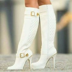 Talk about heaven Fashion Black Winter Boots for Women 2018 Autumn Over The Knee Boots Platform Chunky Heels Shoes Big Size 42,White,4