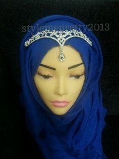 Silver Crystal hijab headpiece asian bridal wedding tiara crown head jewellery   eBay