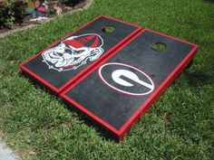 Georgia Bulldogs custom cornhole set by BKCUSTOMCORNHOLE on Etsy, $250.00