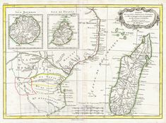 <p>A beautiful example of Rigobert Bonne's c. 1770 decorative map of southeastern Africa and Madagasgar. Roughly covers the territory current incorporated into Mozambique and Madagascar. Also includes inset map of the Isle Bourbon and Isle de France or Mauritius. This region of Africa held a particular fascination for Europeans since the Portuguese first encountered it in the 16th century. At the time, this area was a vast empire called Mutapa or Monomotapa that maintained an active trading… Vintage Wall Art, Vintage Walls, King Solomon's Mines, Us Map, East Africa, Mauritius, Madagascar, 16th Century, Portuguese