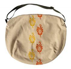 Biciklis női táska, kézzel festett mintával - LISA, Táska, Válltáska, oldaltáska, Ez a táska francia biofestékkel festett bézs színű vászonból készült, pamut béléssel. Az ..., Meska