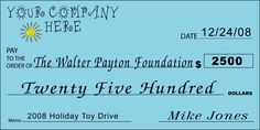 Custom Holiday Toy Drive Big Check : Front
