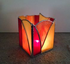 Stained Glass Candle Holder - Abstract Geometric Design - Red Orange Yellow  - Home Decor - Lighting - Votive Holder - Modern Decor by StainedGlassYourWay on Etsy