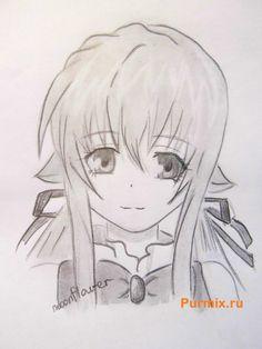 Как нарисовать Руру из аниме Монохромный фактор карандашом