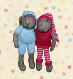 TWO PATTERNS!!! Bunny Boy in Pajamas Knitted Toy Pattern and Bunny Girl in Pajamas Knitted Toy Pattern