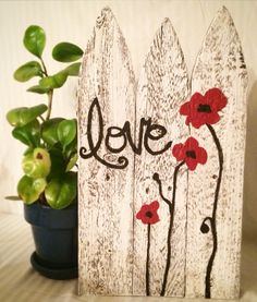 Rustic Picket Fence Painting, Rustic Sign, Garden Sign, Garden Decor, White Picket Fence, love sign, wood sign, home decor, love, mom by SweetBiscuitDesign on Etsy https://www.etsy.com/listing/210549173/rustic-picket-fence-painting-rustic-sign