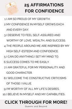 Positive Affirmations: 25 Affirmations for Confidence