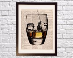 Vintage Whisky Dictionary Print Cocktail Art Print by DictionArt