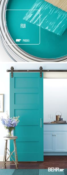 Color of the Month: Fiji Kick back and relax with the ocean blue hue of the Fiji, by Behr Paint. The perfect accent color for every neutral design scheme, this bright shade of turquoise turns this sliding barn door into a bold accent piece for this kitche Kitchen Paint Colors, Paint Colors For Home, Bathroom Colors, House Colors, Wall Colors, Bathroom Ideas, Accent Colors, Bathroom Wall, Teal Kitchen Walls