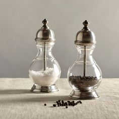 Cosi Tabellini Lucca Salt & Pepper Mills - Pewter & Glass