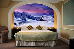Startonight Mural Wall Art Photo Decor Winter Landscape in My Bedroom Medium 4feet 2inch By 6feet Wall Mural for Living Room or Bedroom * Details can be found by clicking on the image.