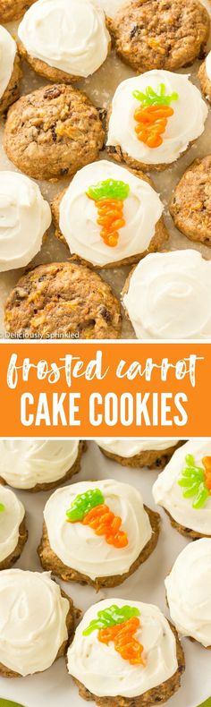 Frosted Carrot Cake Cookies that taste just like traditional carrot cake but in an easy-to-make cookie form. And it wouldn't be carrot cake without a generous amount of delicious cream cheese frosting.