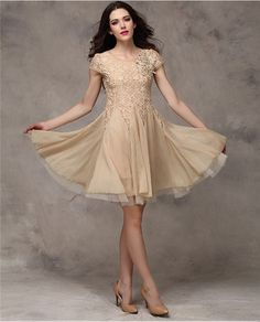 Elegant Mini Short Sleeve O-Neck Lace Stitching Chiffon Dress - 3 Colors