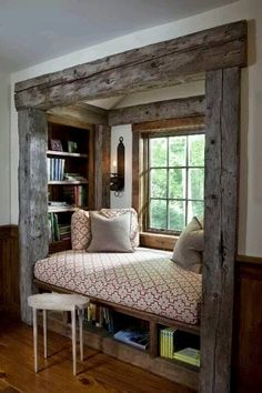 .rustic nook with cushion and pillows